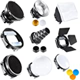 Neewer Speedlite Flash Accessories Kit with Barndoor, Conical Snoot, Mini Reflector, Sphere Diffuser, Beaty Disc, 20x30 cm Softbox, Honeycomb, Colour Filters (Orange, Blue, White, Yellow), Universal Mount Adpater