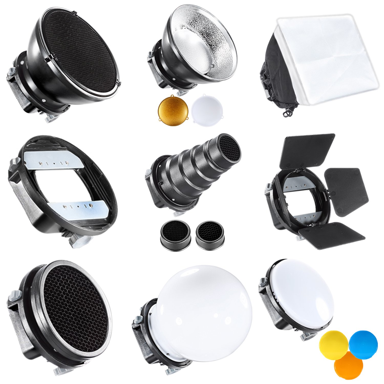 Neewer® Pro (Pro Version of Neewer® Product) Speedlite Flash Accessories Kit with Barndoor, Conical Snoot, Mini Reflector, Sphere Diffuser, Beaty Disc, 8'x12'/20x30 cm Softbox, Honeycomb, Colour Filters (Orange, Blue, White, Yellow), Universal Moun