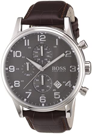 75afeabc2 Image Unavailable. Image not available for. Color: Hugo Boss 1512570 Leather  Mens Watch - Black Dial. Roll over image to zoom in