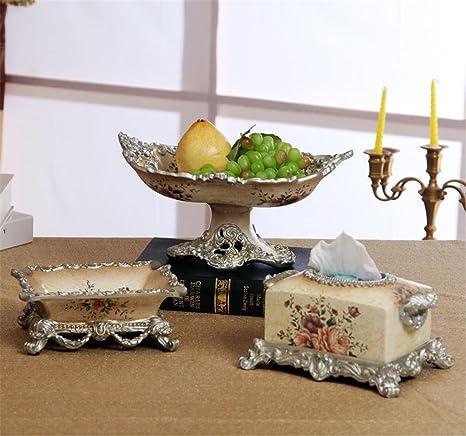 Cuenco de frutas cenicero caja de tejido Cesta de estilo europeo Resina plato de frutas Tres