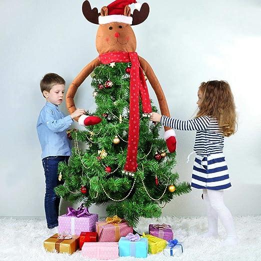 AerWo Reindeer Christmas Tree Topper, Lindo Top de Renos navideños Hechos a Mano del árbol Hugger para Adorno de árbol de Navidad: Amazon.es: Hogar