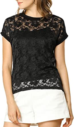Allegra K Women's See Through Curved Hem Short Sleeves Sheer Floral Lace Top