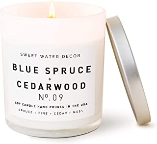 product image for Sweet Water Decor Blue Spruce and Cedarwood Candle | Pine, Evergreen Mountain, Winter Scented Soy Wax Candle for Home | 11oz White Glass Jar, 50 Hour Burn Time, Made in the USA