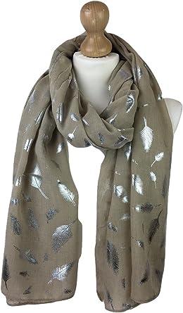 Women/'s Scarves Ladies glitter Scarf  Metallic foil Feather Print Evening Wrap