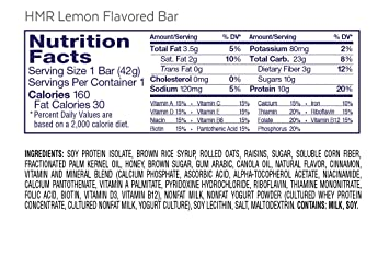 Amazon.com: HMR Lemon Flavored Bar, 10g Protein, 160 Calories, Box of 12 Servings: