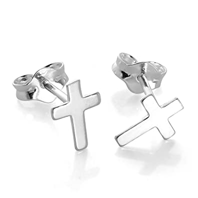 Meyiert 925 Sterling Silver small Cross Stud Earrings with Cubic Zirconia HWeEvuyH
