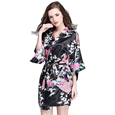 25834a1302 Daiwenwo Women Bath Robe Summer Faux Silk Floral Lady Bathrobe Female  Nightwear Mothers Sleep Kimono (