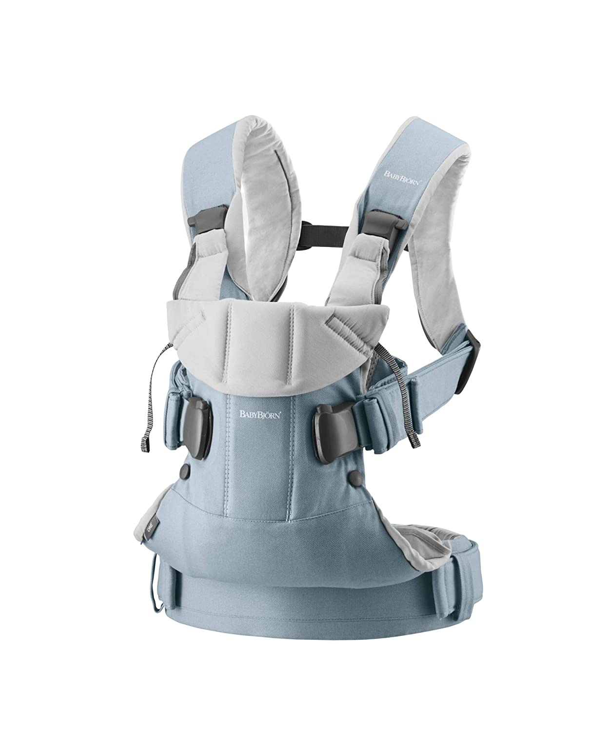 BABYBJÖRN Baby Carrier One, Cotton, Light Blue/Light Gray