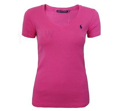 72a624dea1d Ralph Lauren - T-Shirt Femme Col V Manche Courte Noir Rose Bleu Marine Blanc