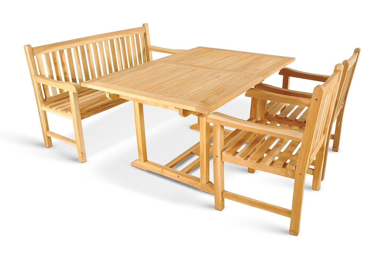 XXS® Gartengruppe Caracas aus Teak-Holz, 4 teilig, Garten-Tisch mit Schirmloch, 1 x Garten-Bank, 2 x Garten-Sessel Terrassen-Möbel aus Massiv-Holz, Gartenmöbel Oberfläche geschliffen