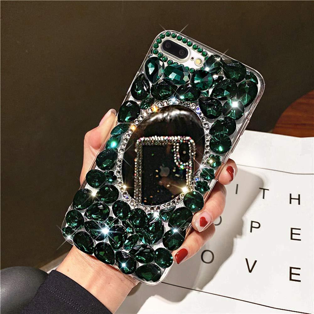 Diamond Case for iPhone 8 Plus/7 Plus Cover,3D Handmade Bling Rhinestone Diamonds Luxury Sparkle Mirror Case Girls Women Full Crystals Bling Diamond Case Cover for iPhone 8 Plus Mirror Case,Green by ikasus