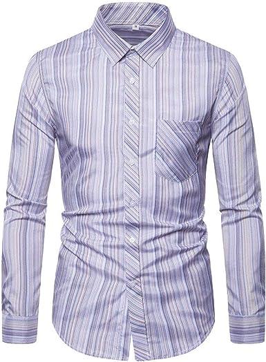 Heetey - Camisa Informal de Manga Larga para Hombre con Rayas Finas y largas, Camisa de Manga Larga con Bolsillos de Estilo Cowboy: Amazon.es: Ropa y accesorios