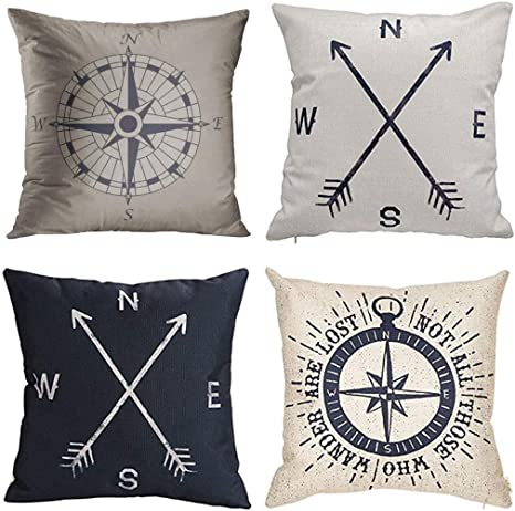 Jbralid Nautical Compass Vintage Pattern Black Not All Those Who Cotton Linen Indoor Decor Throw Pillow Cover Case Set Of 4 22x22 In Home Kitchen