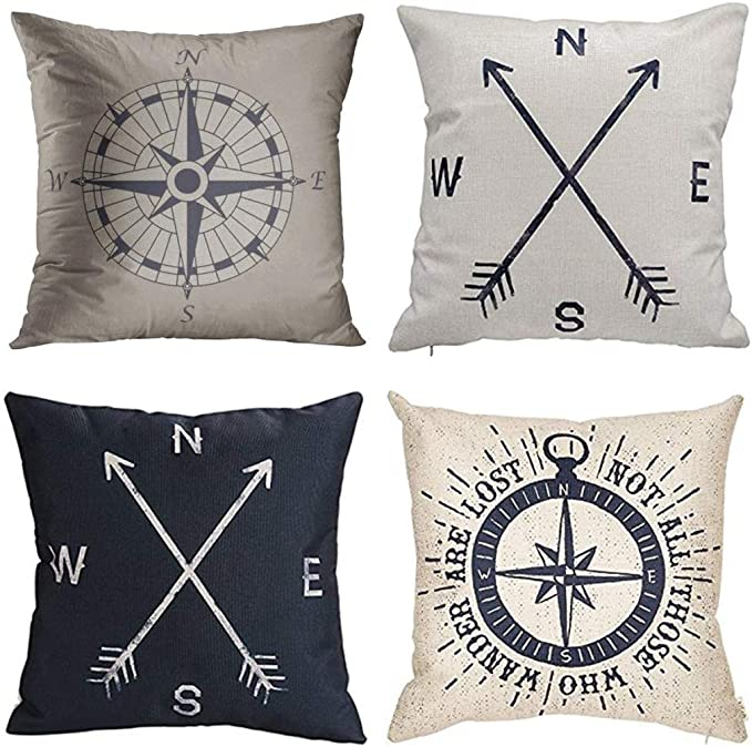 Amazon Com Jbralid Nautical Compass Vintage Pattern Black Not All Those Who Cotton Linen Indoor Decor Throw Pillow Cover Case Set Of 4 22x22 In Home Kitchen