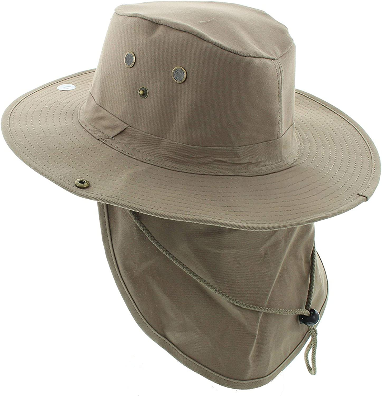 Enimay Outdoor Sun Protection Wide Brim Hiking Fishing Snap Brim Hat with Neck Flap