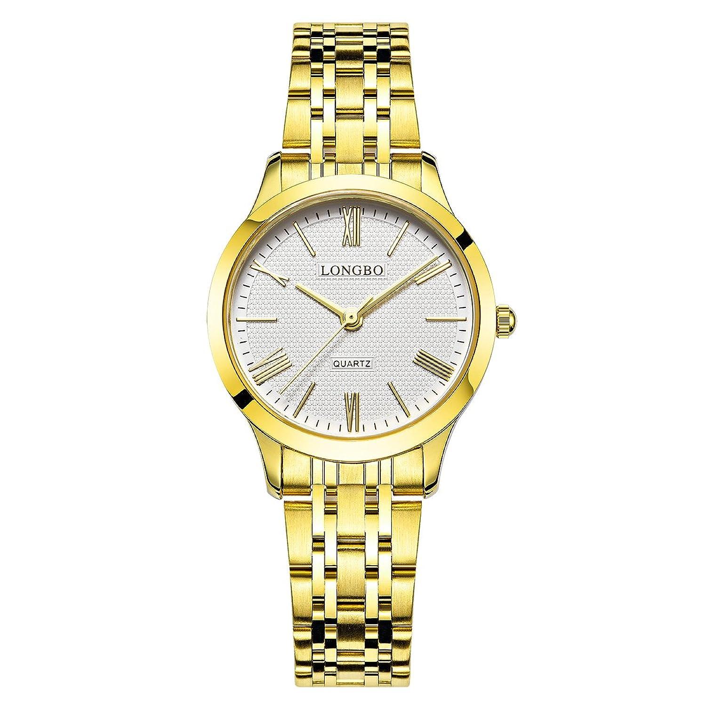 LONGBO Luxuryレディースゴールドステンレススチールバンドアナログクォーツビジネス腕時計カップルドレスローマ数字ホワイトダイヤル時計防水腕時計for Lady B071Y6GFMH