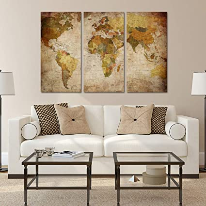 Amazon Com Vintage World Map Canvas Wall Art Ready To Hang Home
