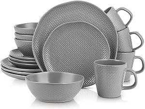 Stone Lain 16 Piece Stoneware Round Weave Dinnerware Set, Service for 4, Gray