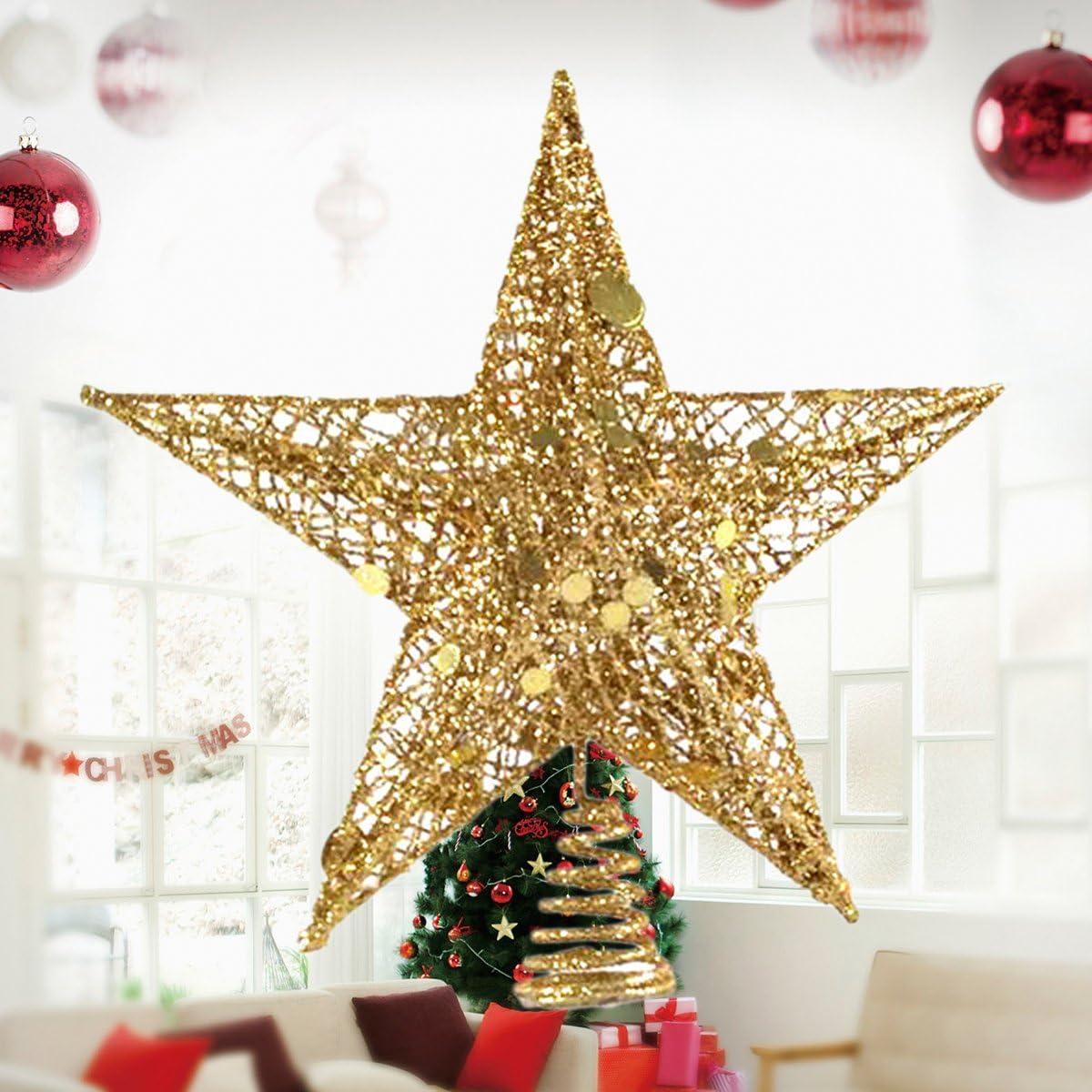 Yolispa Weihnachtsbaum Topper Stern Baum Dekoration Baumkrone Weihnachten Wohnkultur