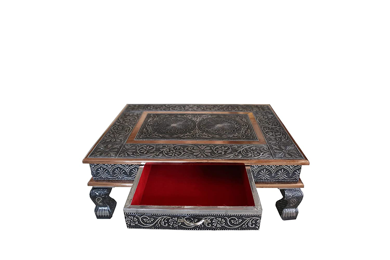 AA Shoppers 50, 8x 38, 1cm indiano Bajot basso tavolo tavolino wedding Puja Chowkie con cassetto portaoggetti