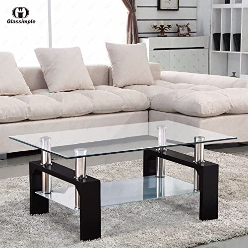 Bailey Sales Rectangular Glass Coffee Table Shelf Chrome Black Wood Living Room Furniture