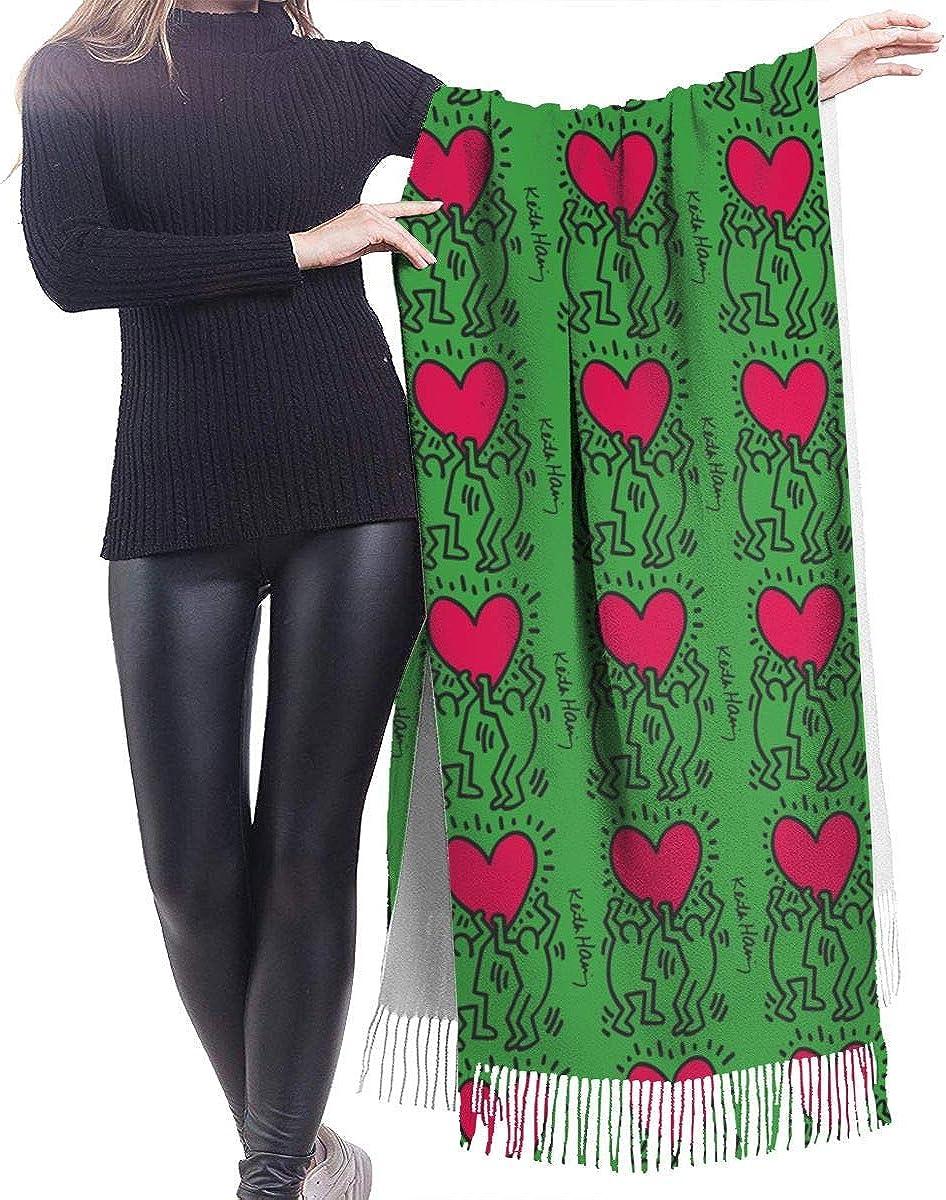 Sciarpa avvolgente in lana cashmere morbida Keith Haring da donna scialle lungo moda inverno caldo