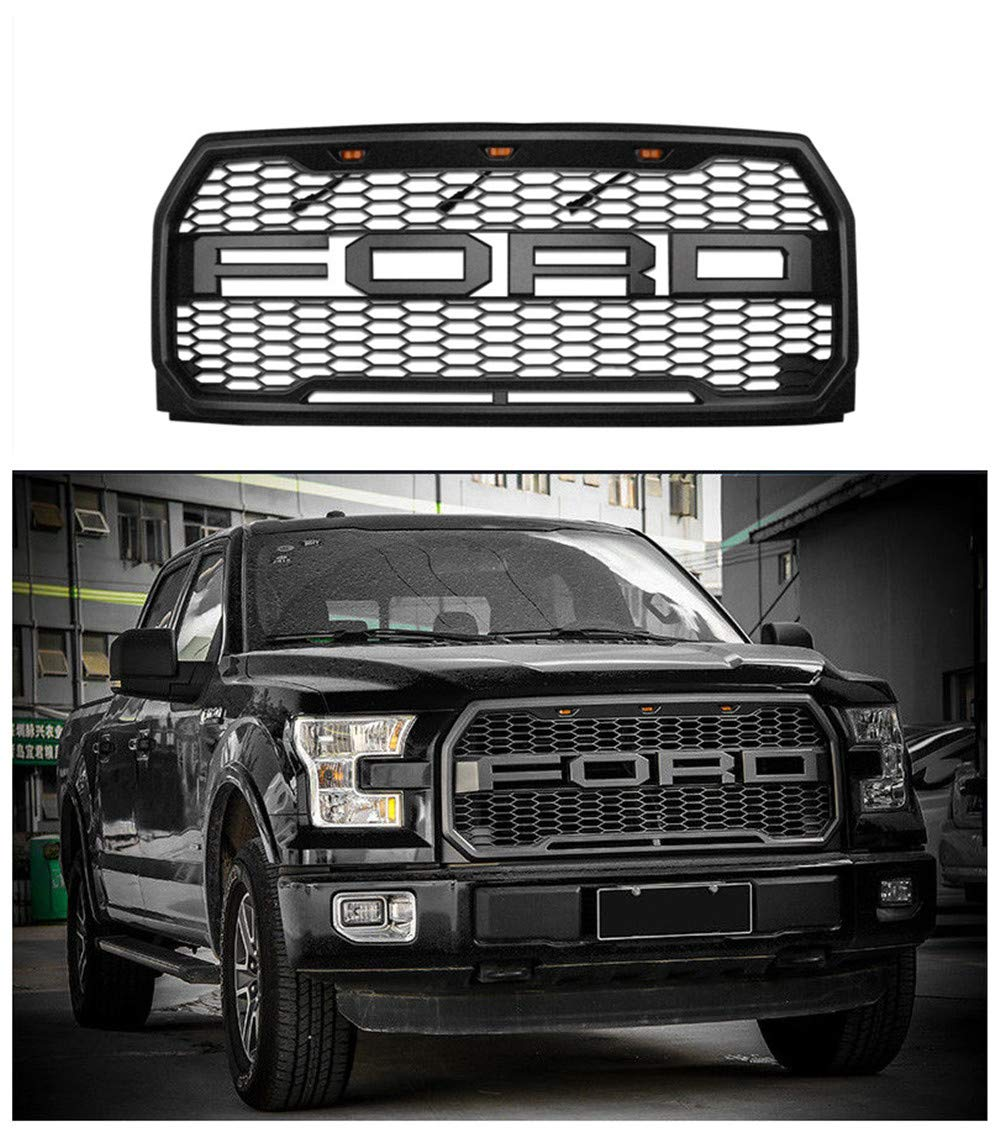 For 2015-2017 Ford F-150 Grille Raptor Style Matte Black XLT LARIAT PLATINUM (NO letters F & R) by F&W