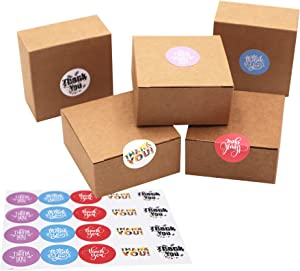Small Homemade Soap Gift Brown Paper Wrapping Packaging Box with Lids Round Stickers Set 20 pcs for Candy Wedding Party Favor Decorative Kraft Boxes