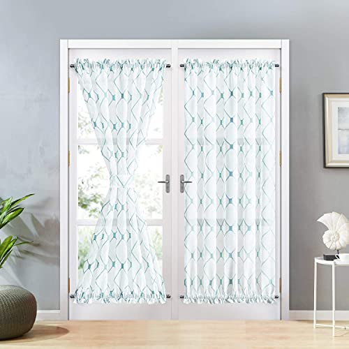 Topfinel Sheer French Door Window Curtains 54×72 Inches Sidelight Curtains for Front Door Tieback Included, White Teal, 2 Panels