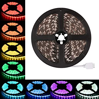 LEDMO tiras led rgb12V,luces led SMD5050 300leds 16 Colores rgb tira led ,IP65