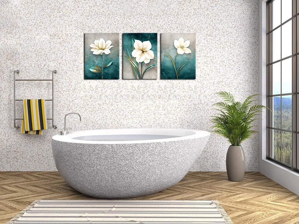 Artwork Flowers Wall Art Abstract Canvas Pictures Bathroom Bedroom Living Room Wall Decor Blue Canvas Picture White Blossom Contemporary Botanic Canvas Artwork Framed Ready To Hang 30cm X 40cm X 3 Pieces