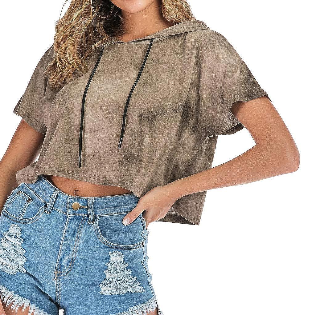Cgeolhni Fashion Women Hooded Short Sleeve Gradient Print Short Sweatshirt Overall Top