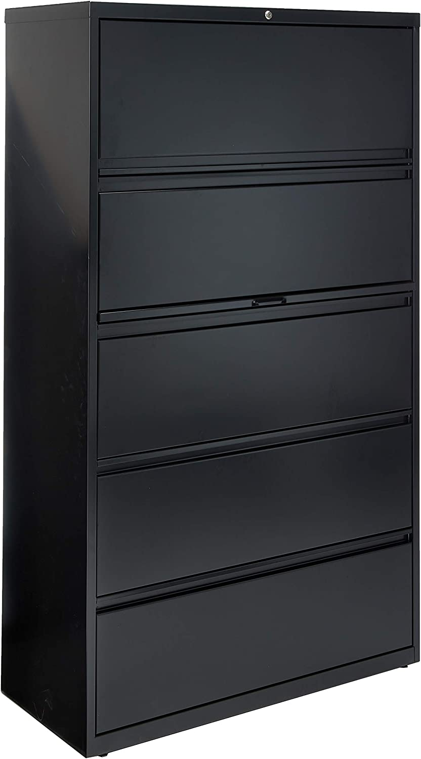 Amazon Com Lorell 5 Drawer Lateral File 42 By 18 5 8 By 67 11 16 Inch Black Home Kitchen