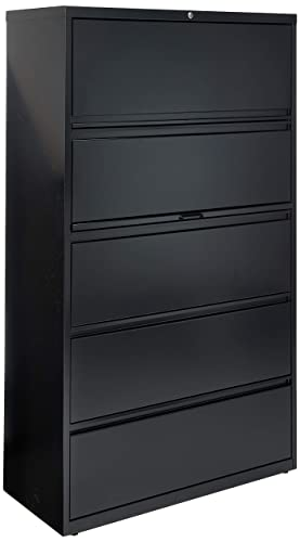 Lorell 5-Drawer Lateral File, 42 by 18-5 8 by 67-11 16-Inch, Black