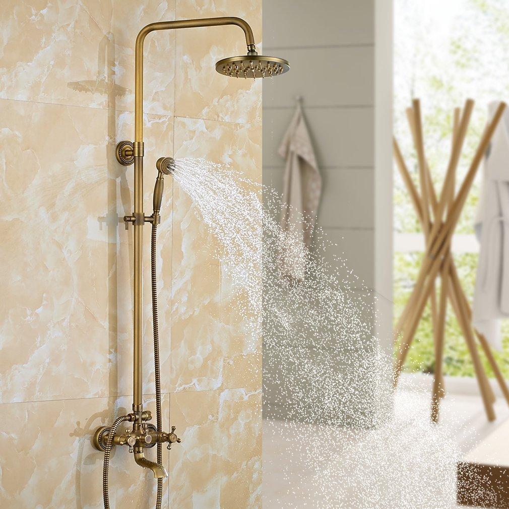 Energieklasse A++ Auralum Thermostat Duschset Brausethermostat Duschsystem Duscharmatur Kupfer mit Handbrause und Regendusche