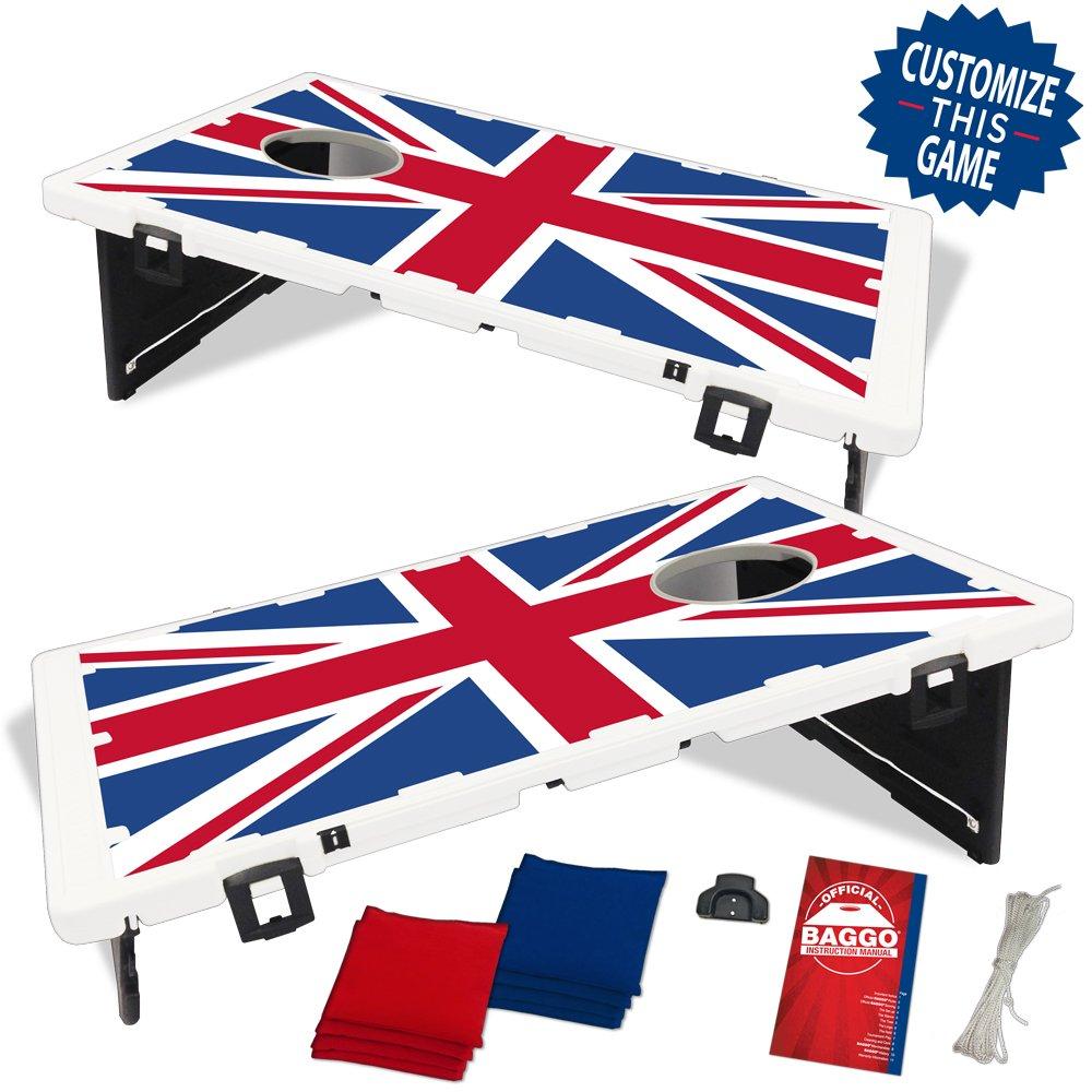 United Kingdom Union Jack Flag Baggo Bean Bag Toss Portable Cornhole Game
