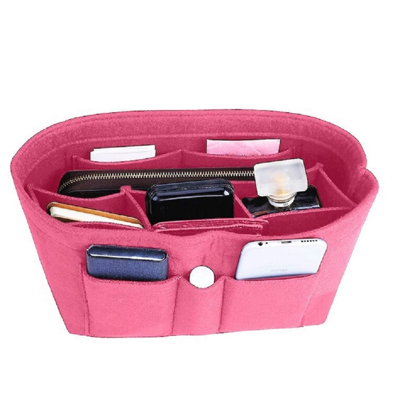 Felt Insert Bag Organizer Bag In Bag For Handbag Purse Organizer, Six Color Three Size Medium Large X-Large (Large, Pink) by ZTUJO (Image #1)