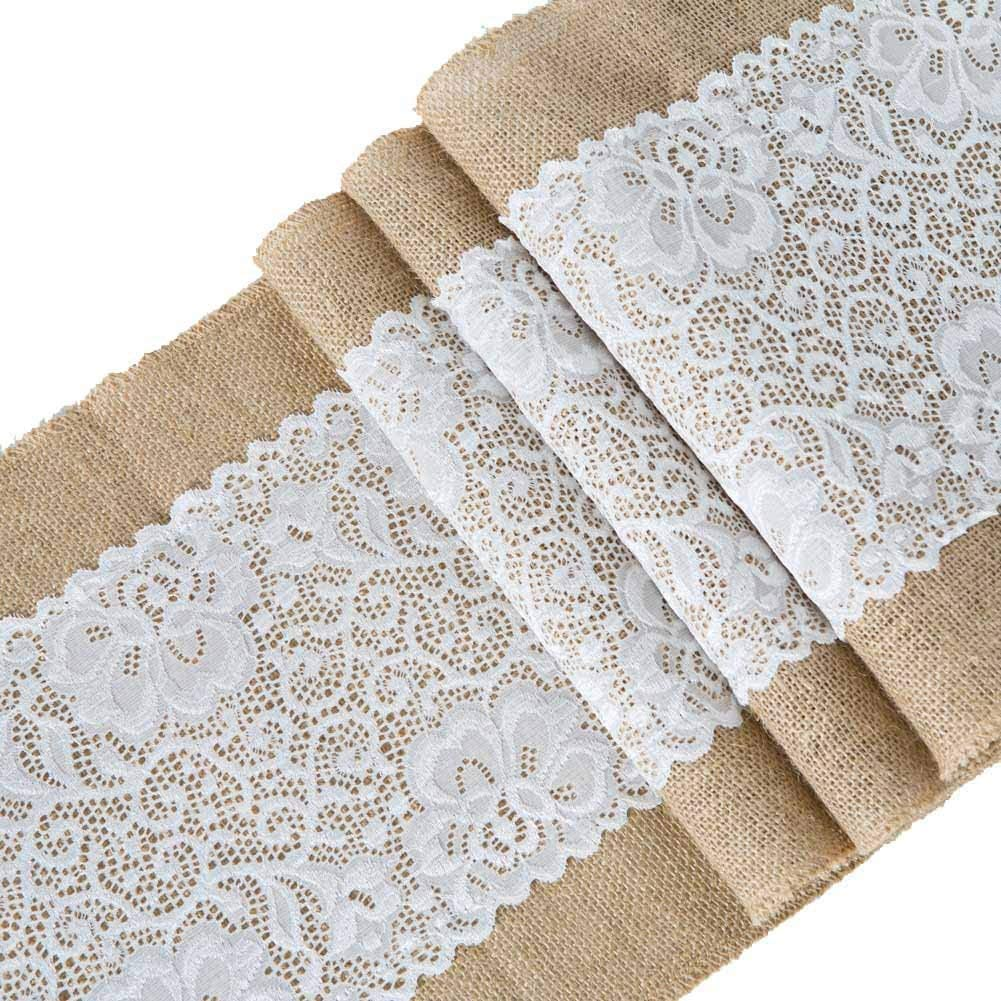 jialiin Burlap Lace Table Runner, Rustic Natural Jute Table Decoration for Home Party Wedding Christmas Table Decor (42inch)