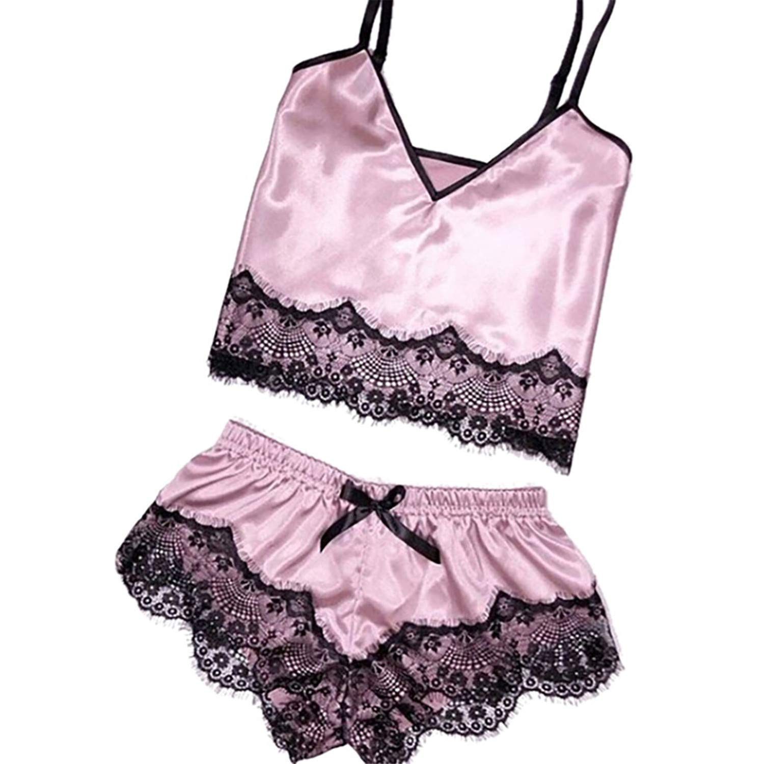 Fashion Lady Sexy Solid Satin Bowknot Sleepwear Lingerie Patchwork Lace Nightdress Underwear for Women Gift Pink XXL