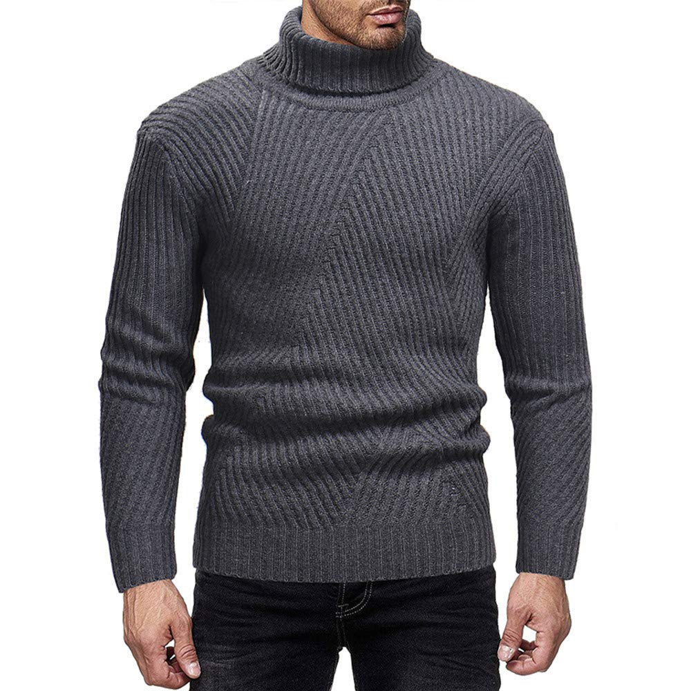 Limsea 2018 Men's Long Sleeve Winter High Collar Casual Elastic Top Blouse Knitted Sweater(Grey,XL)