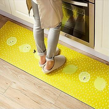 Abreeze Yellow Kitchen Rug, 1 Piece Creative Non-Slip Kitchen Mat Rubber  Backing Doormat Runner Rug,17.7\