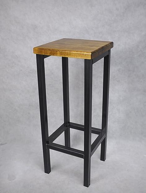 Barhocker Stahl Holz massiv Barstuhl Industrial Design Metall ...