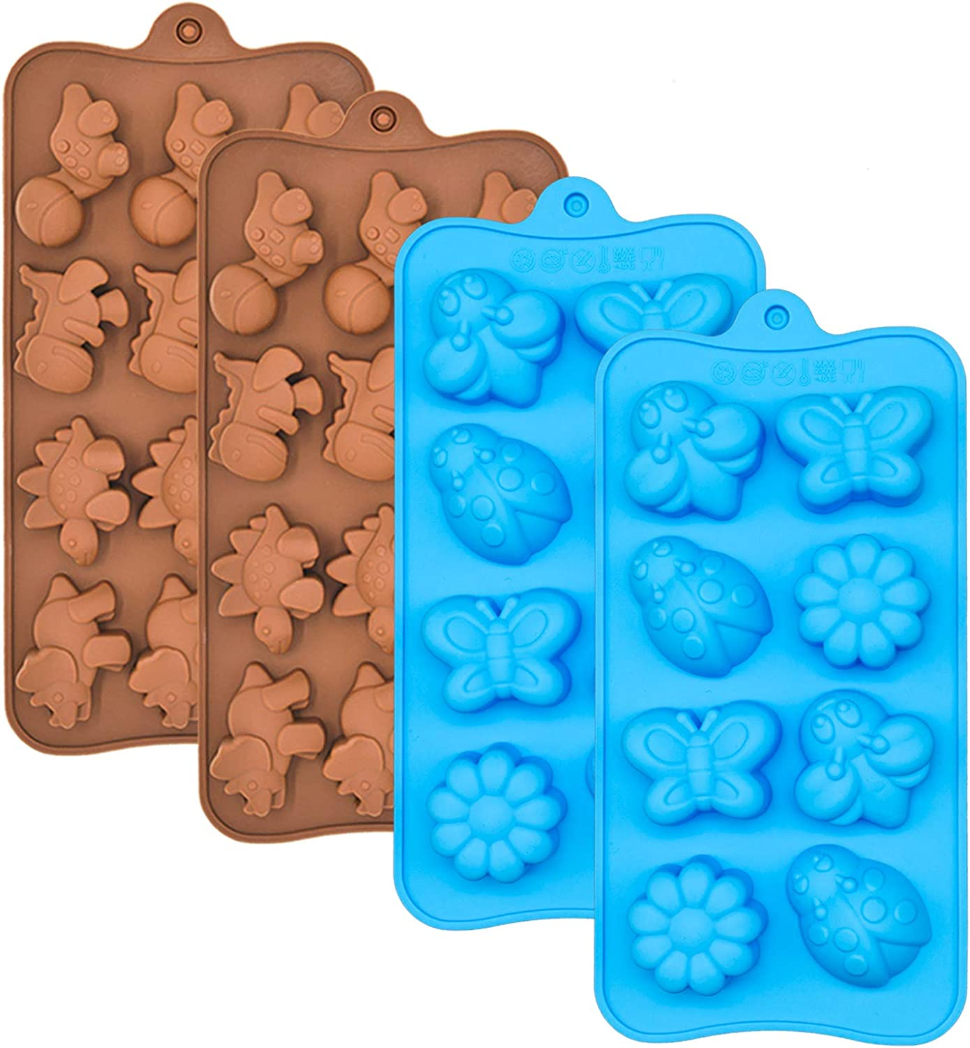 Silicone Chocolate Candy Molds, Non-stick Animal Silicone Baking Mold Making Kit - BPA Free, Forest Theme with Different Animals, including Dinosaurs, Butterfly and Flower, Set of 4