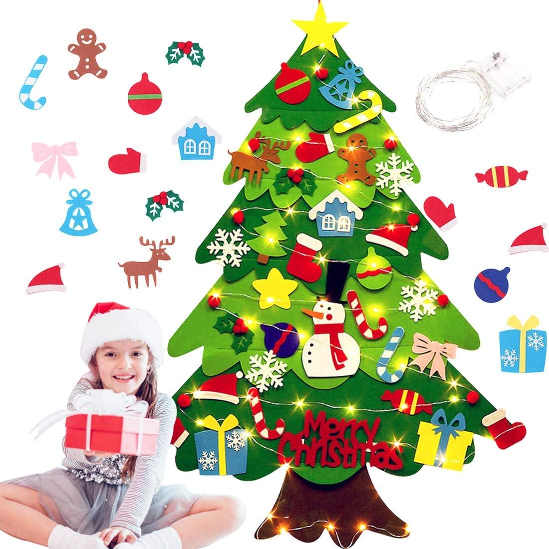 JUSTDOLIFE DIY Felt Christmas Tree, DIY Felt Christmas Tree with 32 Tree Toppers Xmas Ornaments and Light String Wall Hanging Felt Tree for Home Xmas Gift Decor