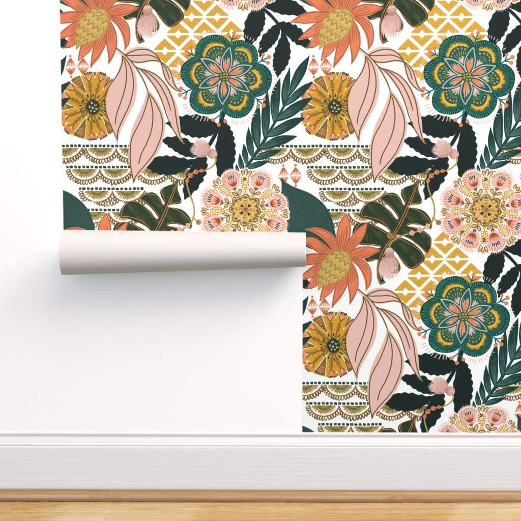 Removable Water-Activated Wallpaper - Bohemian Tropical Leaves Floral Pattern Boho Paradise Palm by Fineapple Pair - 24in x 72in Smooth Textured Water-Activated Wallpaper Roll