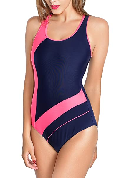 Velius Women Graphic Athletic Surfing Competition One Piece Swimsuits (XX-Large, Pink & Blue)