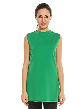 58216775ed ACEVOG Women's Crew Neck Sleeveless Vest Tunic Shirt Casual Top(Size S-L)