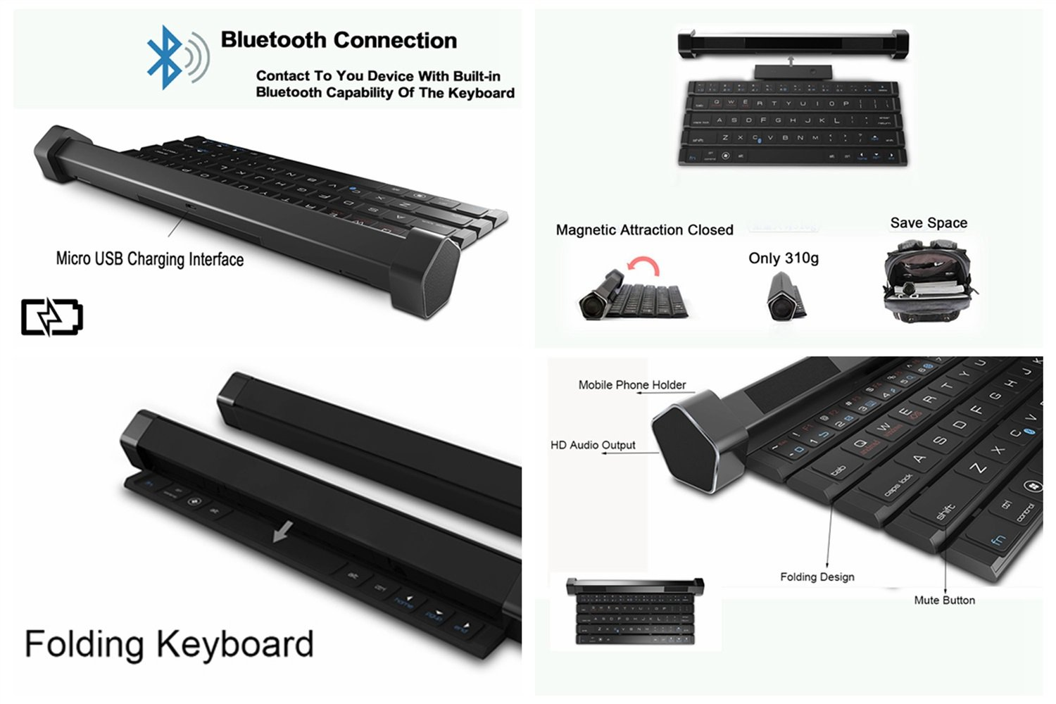 HOIHO Portable speaker/bluetooth keyboard speaker portable bluetooth wireless smart speaker keyboard bluetooth for mobile phones by HOIHO (Image #3)