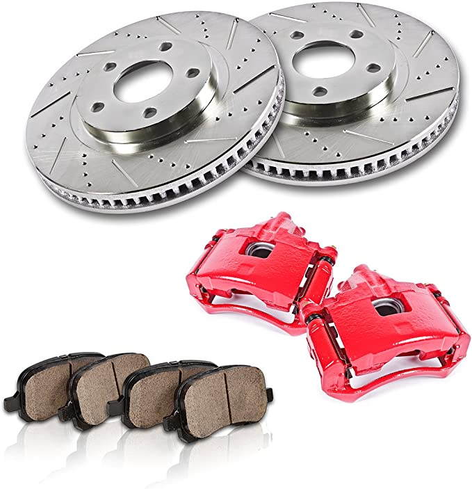 Front Calipers and Rotors Ceramic Pads For IMPALA MONTE CARLO DEVILLE BONNEVILLE