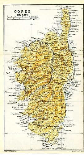 Amazon.com: Isle of Corsica Mediterranean Sea 1913 detailed ...